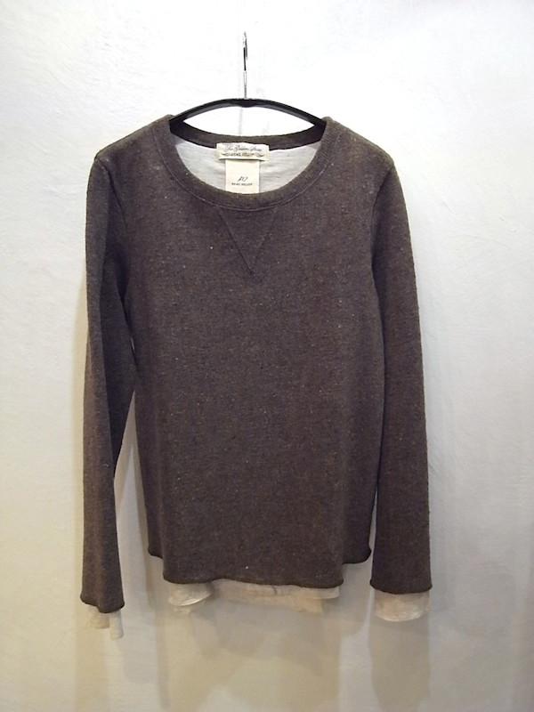 画像1: REMI RELIEF レミレリーフ/ WOOL PLAIN STITCH LAYERED CREW