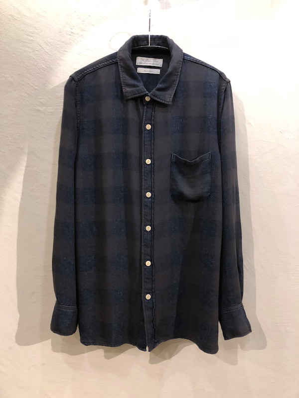 画像1: REMI RELIEF レミレリーフ/ INDIGO RAYON BLOCK CHECK SHIRTS